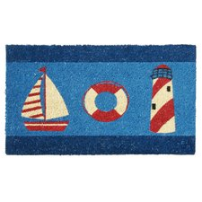 nautical-theme-doormat-buoy-lighthouse Beach Doormats and Coastal Doormats