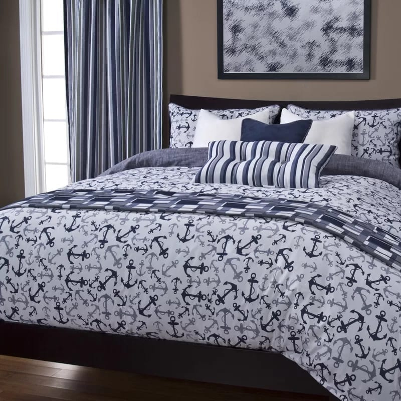 renate-anchors-away-duvet-cover-set-by-longshore-tides Coastal Bedding and Beach Bedding Sets