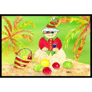 sandman-snowman-christmas-at-the-beach-doormat Beach Doormats and Coastal Doormats