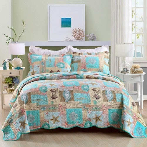 seashell-quilted-coverlet-beach-bedding-set Coastal Bedding and Beach Bedding Sets