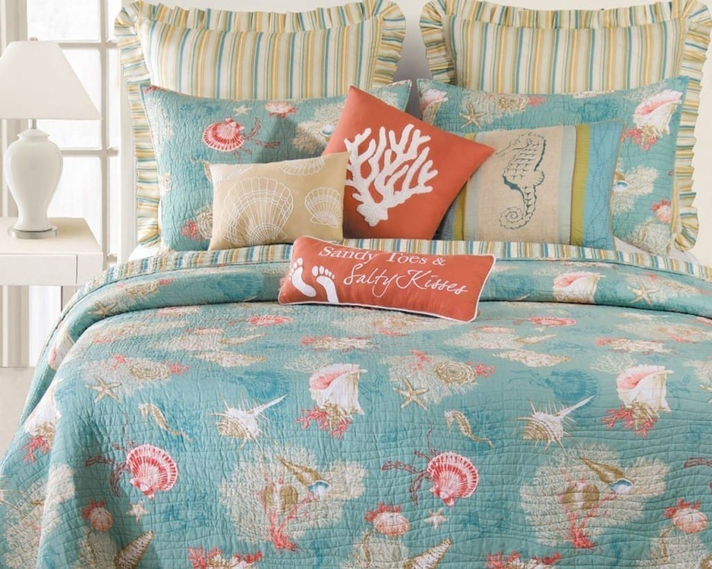 teal and coral santa catalina quilt set - 12
