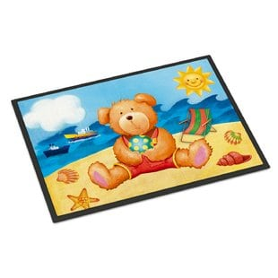 teddy-bear-on-the-beach-doormat Beach Doormats and Coastal Doormats