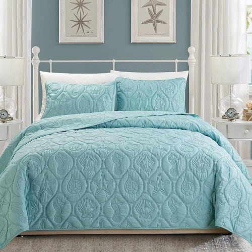 tropical-coast-seashell-bed-spread Coastal Bedding and Beach Bedding Sets