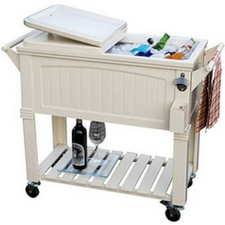 Superbe White Rolling Outdoor Patio Cooler Outdoor Coolers And Ice Chests