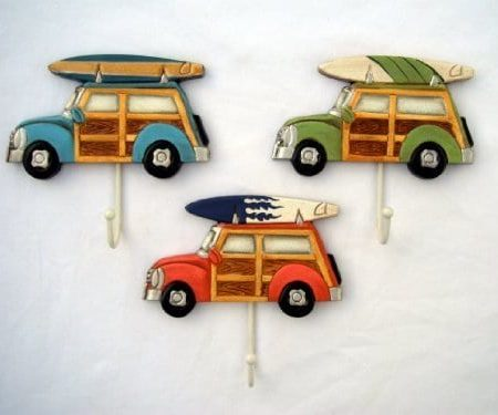 3-Woody-with-Surfboard-Towel-Hooks-0-450x375 Surf Decor & Surfboard Decorations
