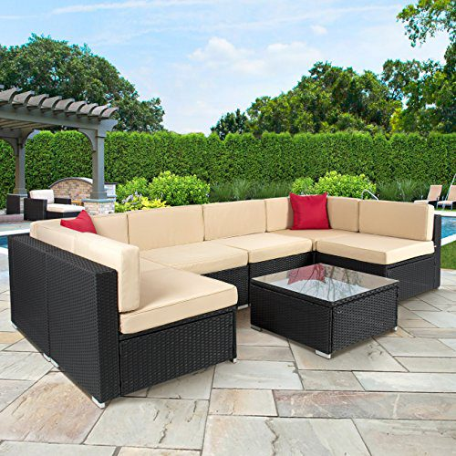 7-PC Furniture Sectional PE Wicker Rattan Sofa Set Deck Couch