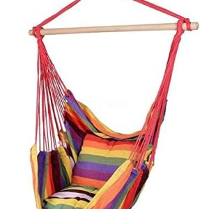 Busen-Hammock-Hanging-Rope-Chair-Sky-Air-Hammock-Swing-Chair-Porch-Chair-with-Stand-Cushioned-Seat-0