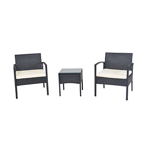 patio garden lawn furniture black pe rattan wicker sofa set 0 0