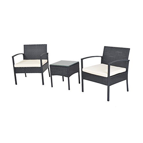 Compact 3 Pc Wicker Chair Set W Coffee Table