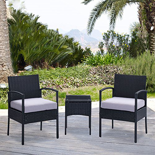- Compact 3-PC Wicker Chair Set W/ Coffee Table