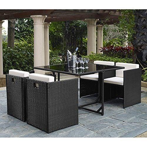 Complete Outdoor/Indoor 5 Piece Rattan Wicker Cube Dining Set ...