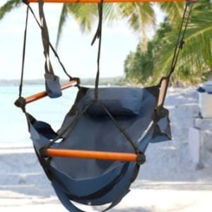 Hammock-Hanging-Chair-Air-Deluxe-Sky-Porch-Swing-Indooroutdoor-Garden-Patio-Yard-Chair-Solid-Wood-250lb-Blue-Durable-and-Weather-Resistant-0