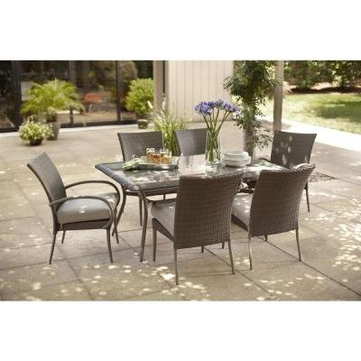 Hampton-Bay-Posada-7-Piece-Decorative-Outdoor-Patio-Dining-Set-with-Gray-Cushions-Seats-6-0 Best Outdoor Wicker Patio Furniture