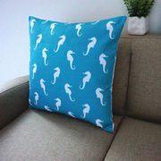 Howarmer-Cotton-Canvas-Aqua-Blue-Decorative-Pillows-Cover-Set-of-4-Beach-Theme-Chevron-Whales-Sea-Horse-Sea-Stars-0-4