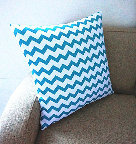 Throw Pillow Covers Set Of 4 : Howarmer Cotton Canvas Aqua Blue Decorative Pillow Covers, Set of 4 - Beachfront Decor