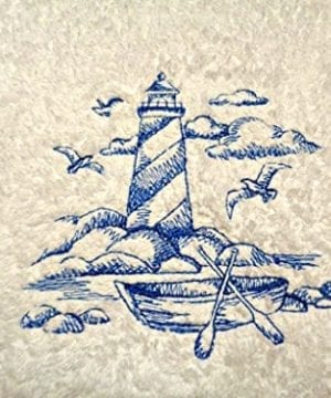 Lighthouse-Blue-Embroidery-on-White-Towel-Shoreline-Beach-Nautical-Themed-Bath-Hand-Towels-0-300x360 50+ Beach Hand Towels and Nautical Hand Towels