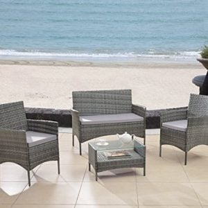 Modern-Outdoor-Garden-Patio-4-Piece-Seat-Gray-Black-Wicker-Sofa-Furniture-Set-0-300x300 The Best Wicker Conversation Sets You Can Buy