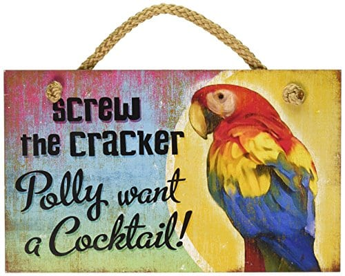 New-Distressed-Wood-Tropical-Decor-Polly-Want-Cocktail-Sign-Beach-Coastal-Fun-Plaque-0 100+ Wooden Beach Signs and Wooden Coastal Signs