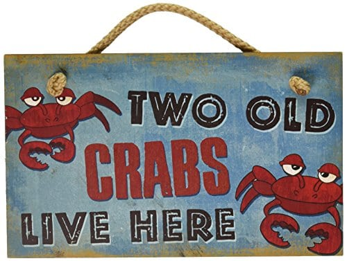 New-Vintage-Wood-Hanging-Wall-Sign-Two-Old-Crabs-Live-Here-Distressed-Plaque-Cozy-Beach-Cottage-Decor-Art-0 100+ Wooden Beach Signs and Wooden Coastal Signs