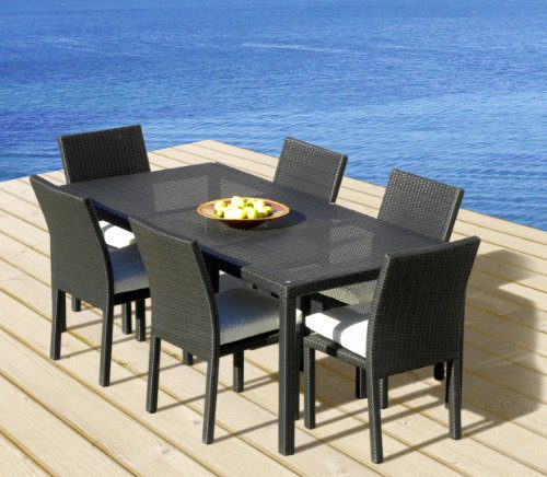 outdoor patio wicker furniture new all weather resin 7 piece dining