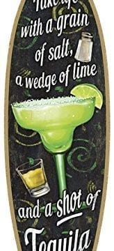 SJT41305-Margarita-Take-life-with-a-grain-of-salt-a-wedge-of-lime-and-a-shot-of-Tequila-5-x-16-Surfboard-Wood-Plaque-Sign-0-164x360 100+ Wooden Beach Signs & Wooden Coastal Signs