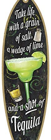 SJT41305-Margarita-Take-life-with-a-grain-of-salt-a-wedge-of-lime-and-a-shot-of-Tequila-5-x-16-Surfboard-Wood-Plaque-Sign-0-164x450 100+ Wooden Beach Signs and Wooden Coastal Signs