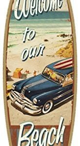 SJT41335-Welcome-to-our-Beach-with-woodie-5-x-16-Surfboard-Wood-Plaque-Sign-0