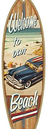 SJT41335-Welcome-to-our-Beach-with-woodie-5-x-16-Surfboard-Wood-Plaque-Sign-0-164x450 100+ Wooden Beach Signs and Wooden Coastal Signs