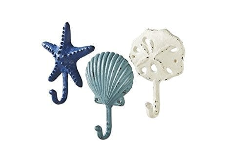 Sea-Treasures-Wall-Hooks-Set-of-3-Antique-Weathered-Hangers-for-Coats-Aprons-Hats-Towels-Pot-Holders-Scallop-Sand-Dollar-Sea-Star-Starfish-0 Best Beach Wall Hooks and Towel Hooks