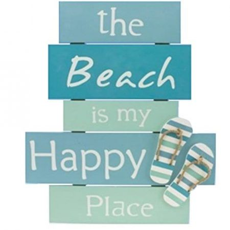 The-Beach-Is-My-Happy-Place-Plaque-with-Raised-Flip-Flop-Accent-0-450x450 100+ Wooden Beach Signs and Wooden Coastal Signs