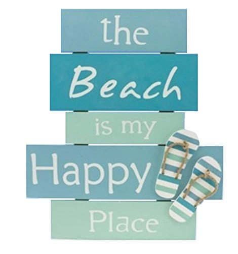 The-Beach-Is-My-Happy-Place-Plaque-with-Raised-Flip-Flop-Accent-0 Best Flip Flop Decor