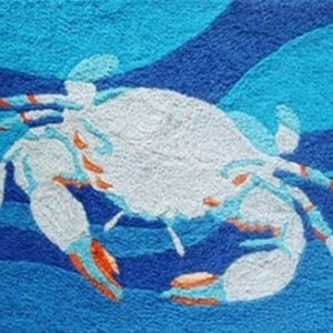 Coastal-Blue-Crab-Swimming-in-Ocean-Waves-Accent-Area-Rug-21-x-33-Inch-Jellybean-0