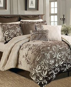 12-Piece-Brown-Beige-Bamboo-Leaves-Tropical-Oversize-Comforter-Set-King-Size-Bedding-Quilt-Set-0
