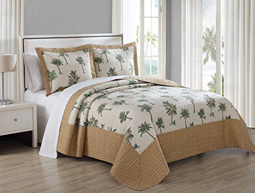 3-Piece-Barbados-GreenBrown-Quilt-Set-0 Hawaii Themed Bedding Sets