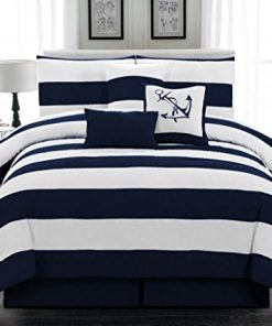 7pc-Microfiber-Nautical-Themed-Comforter-set-Navy-Blue-and-White-Striped-Full-Queen-and-King-Sizes-0-247x296 100+ Nautical Bedding Sets