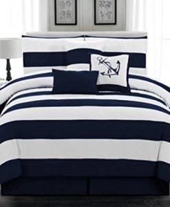 7pc-Microfiber-Nautical-Themed-Comforter-set-Navy-Blue-and-White-Striped-Full-Queen-and-King-Sizes-0-247x300 Best Anchor Bedding and Comforter Sets