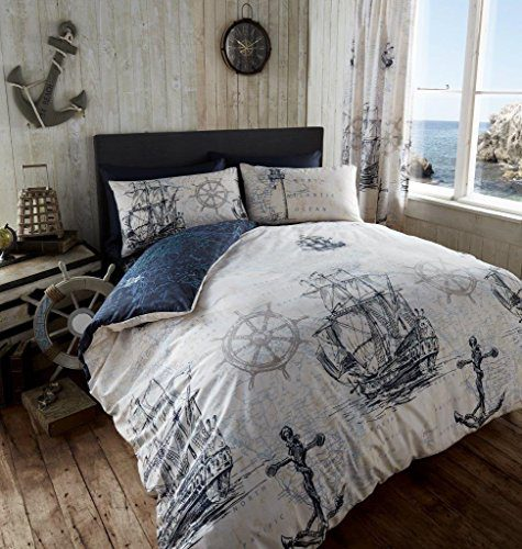 ADVENTURE-DUVET-QUILT-COVER-NAUTICAL-BOAT-SHIP-ANCHOR-KING-BEDDING-BED-SET-NAVY-0