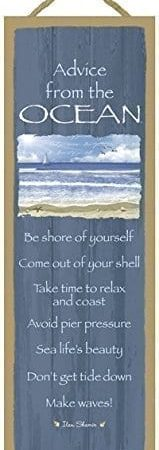 Advice-from-the-Ocean-primitive-wood-plaques-signs-measure-5-x-15-size-Licensed-from-Ilan-Shamir-and-Your-True-Nature-0-159x450 100+ Wooden Beach Signs and Wooden Coastal Signs
