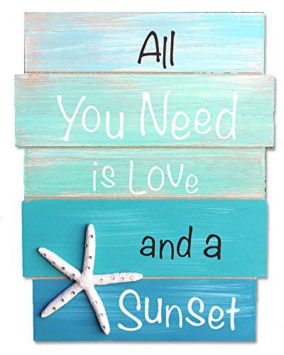 All-You-Need-is-Love-and-a-Sunset-Coastal-Wood-Plank-Sign-with-White-Resin-Starfish-Rhinestones-0 100+ Wooden Beach Signs and Wooden Coastal Signs