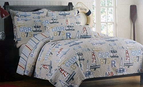 Authentic-Kids-Full-Queen-Quilt-Nautical-Ocean-Sail-Boats-Yachts-on-Beige-Backgroound-0 The Best Nautical Quilts and Nautical Bedding Sets