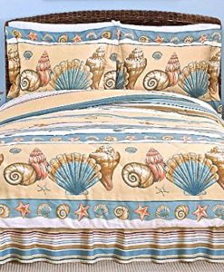 Coastal-Shoreline-BEIGE-SEASHELL-COMFORTER-SET-3-or-4-PiecesBeach-House-Living-0-247x300 The Ultimate Guide to Tropical Bedding Sets