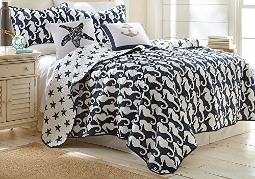 Elise-James-Home-Seahorse-Quilt-Set-0 The Best Nautical Quilts and Nautical Bedding Sets