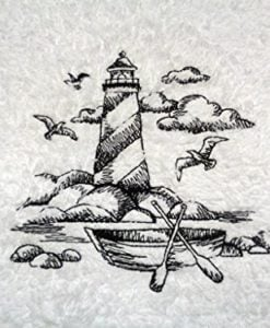 Embroidered-Lighthouse-Black-on-White-Towel-Shoreline-Beach-Nautical-Themed-Bath-Hand-Towels-0