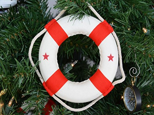 Hampton-Nautical-White-Lifering-with-Red-Bands-Christmas-Tree-Ornament-6-Nautical-Christmas-Tree-Decoration-0 Beach Christmas Ornaments and Nautical Christmas Ornaments
