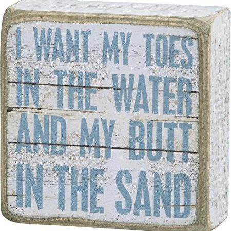 I-Want-My-Toes-In-The-Water-And-My-Butt-In-The-Sand-Vintage-Plank-Board-Beach-Coastal-Decor-Box-Sign-4-in-x-4-in-0-450x450 100+ Wooden Beach Signs and Wooden Coastal Signs