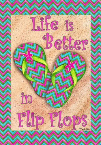 LIFE-IS-BETTER-IN-FLIP-FLOPS-Double-Sided-GARDEN-Size-Decorative-Flag-12-X-18-Inches-0 Best Flip Flop Decor