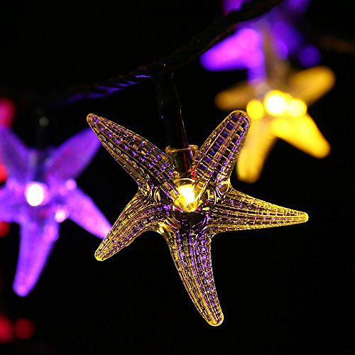 LUCKLED Original Starfish Solar String Lights 20ft 30 LED Fairy Christmas Lights Decorative Lighting For IndoorOutdoor Garden Home Patio Lawn Party And Holiday DecorationsMulti Color 0 1