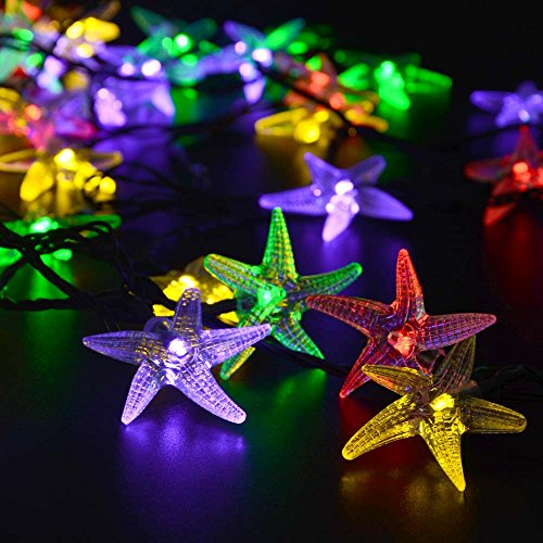 LUCKLED Original Starfish Solar String Lights 20ft 30 LED Fairy Christmas Lights Decorative Lighting For IndoorOutdoor Garden Home Patio Lawn Party And Holiday DecorationsMulti Color 0 2