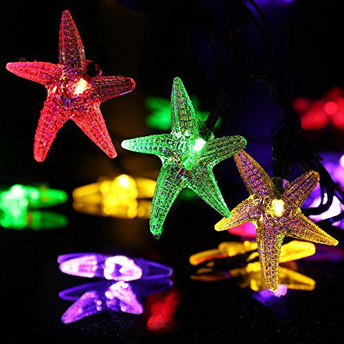 LUCKLED Original Starfish Solar String Lights 20ft 30 LED Fairy Christmas Lights Decorative Lighting For IndoorOutdoor Garden Home Patio Lawn Party And Holiday DecorationsMulti Color 0