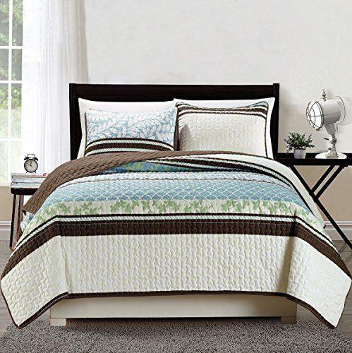 Lattice-BlueGreen-Reversible-BedspreadQuilt-Set-0 Best Tropical Bedding Sets